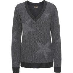 Sweter bonprix antracytowy melanż. Szare swetry damskie bonprix, z dekoltem w serek. Za 79.99 zł.