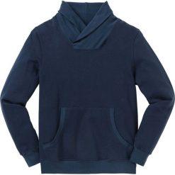 Bluza z szalowym kołnierzem Regular Fit bonprix ciemnoniebieski. Niebieskie bluzy męskie bonprix. Za 109.99 zł.