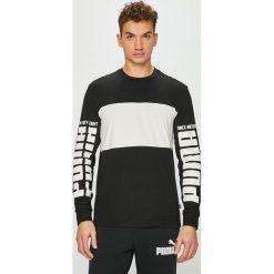 Puma - Longsleeve. Czarne bluzki z długim rękawem męskie Puma, z nadrukiem, z bawełny, z okrągłym kołnierzem. Za 139.90 zł.