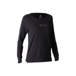 Koszulka długi rękaw Gym & Pilates 500 damska. Czarne koszulki sportowe damskie DOMYOS, z bawełny, z długim rękawem. Za 39.99 zł.