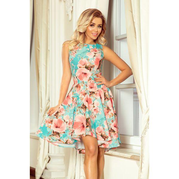 d440121840 Sukienka Z Dłuższym Tyłem Kwiaty Brzoskwiniowe - Sukienki damskie ...