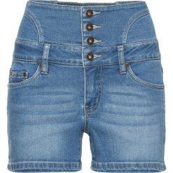 Szorty dżinsowe z wysoką talią bonprix niebieski bleached. Szorty damskie marki KIPSTA. Za 89.99 zł.