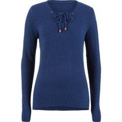 Sweter ze sznurowaniem bonprix kobaltowy. Swetry damskie marki bonprix. Za 79.99 zł.
