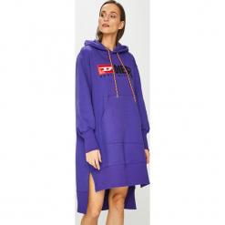 Diesel - Sukienka. Niebieskie sukienki damskie Diesel, z aplikacjami, z bawełny, casualowe, z kapturem. Za 869.90 zł.