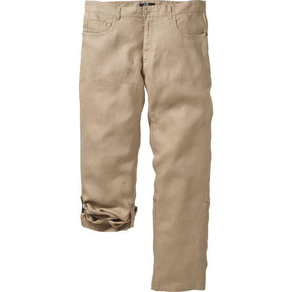 Spodnie lniane z wywijanymi nogawkami Regular Fit bonprix beżowy