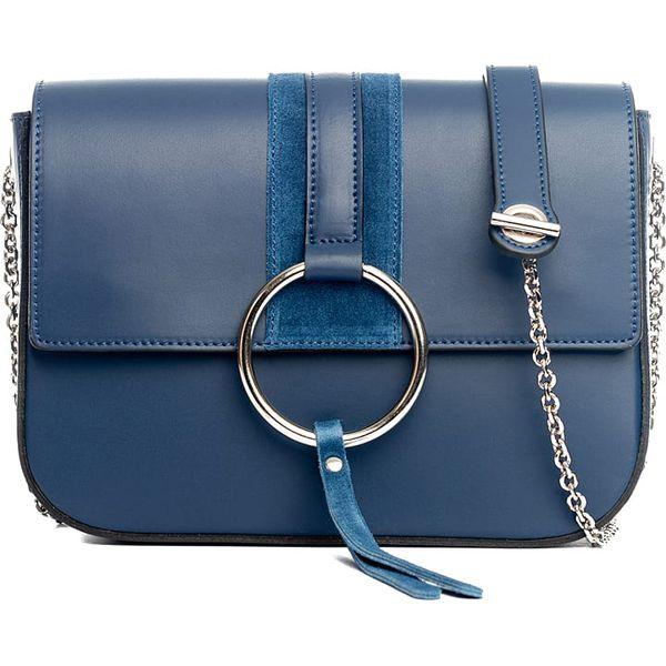 392870aa3e Skórzana torebka w kolorze niebieskim - 24 x 18 x 9 cm - Torby na ...