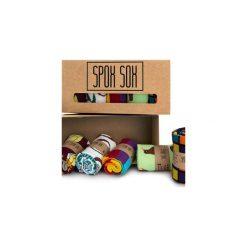 Kolorowe skarpetki - zestaw Spox Sox. Brązowe skarpety męskie Spox sox, w kolorowe wzory, z bawełny. Za 120.00 zł.