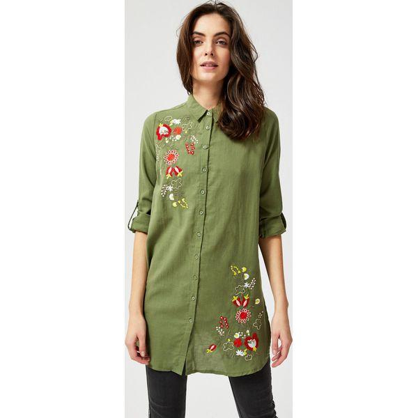 Długa koszula z kwiatowym haftem Zielone koszule damskie  H6Fdi