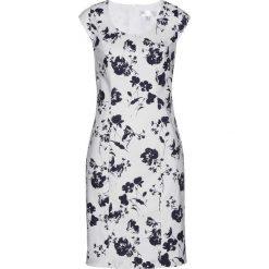 Lniana sukienka ołówkowa bonprix biało-ciemnoniebieski z nadrukiem. Białe sukienki damskie bonprix, z nadrukiem. Za 129.99 zł.