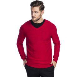 Sweter VINCENZO SWTS000217. Czerwone swetry przez głowę męskie Giacomo Conti, z kaszmiru, z klasycznym kołnierzykiem. Za 249.00 zł.