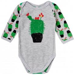 Garnamama Body Dziecięce Z Kwitnącym Kaktusem 56 Szare. Szare body niemowlęce Garnamama, z nadrukiem, z długim rękawem. Za 33.00 zł.