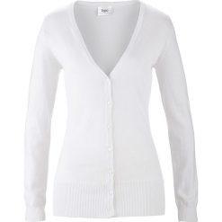 Sweter rozpinany bonprix biały. Kardigany damskie marki bonprix. Za 59.99 zł.