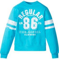 """Bluza z nadrukiem w stylu """"college"""" bonprix błękit laguny z nadrukiem. Bluzy dla chłopców marki Pulp. Za 37.99 zł."""