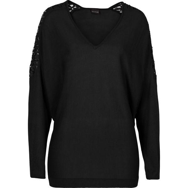 7275de4726e089 Sweter z gładkiej dzianiny z koronką bonprix czarny - Swetry damskie ...