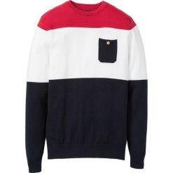 Sweter z kieszonką bonprix czarno-biało-czerwony w paski. Swetry przez głowę męskie marki Giacomo Conti. Za 74.99 zł.