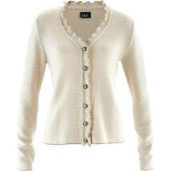 Sweter rozpinany ludowy z falbankami bonprix beżowo-szary. Brązowe kardigany damskie bonprix. Za 89.99 zł.