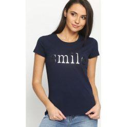 Granatowy T-shirt Besmile. T-shirty damskie Born2be. Za 24.99 zł.