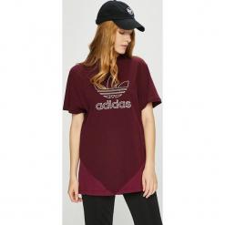 Adidas Originals - Top. Brązowe topy damskie adidas Originals, z aplikacjami, z bawełny, z okrągłym kołnierzem, z krótkim rękawem. W wyprzedaży za 119.90 zł.