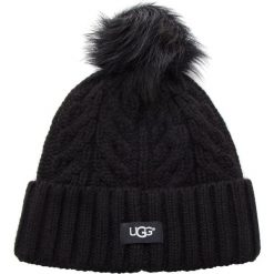 Czapka UGG - W Cable Pom Beanie 17493 Black. Czarne czapki i kapelusze damskie UGG, z materiału. Za 299.00 zł.