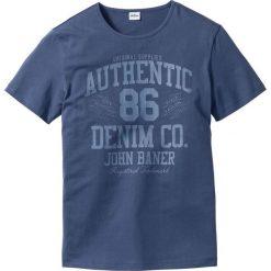 T-shirt Regular Fit bonprix indygo. Niebieskie t-shirty męskie bonprix, z nadrukiem. Za 29.99 zł.