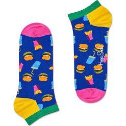 Happy Socks - Stopki Hamburger. Niebieskie skarpety damskie Happy Socks, z bawełny. W wyprzedaży za 19.90 zł.