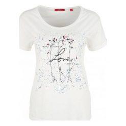 S.Oliver T-Shirt Damski 40 Kremowy. Białe t-shirty damskie S.Oliver, z nadrukiem. Za 60.00 zł.